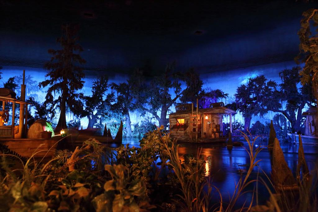 View of the boats going by inside the Blue Bayou