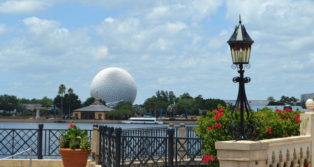 Epcot seen in the daytime across the river