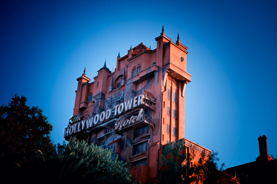 Outside of Twilight Zone tower at dusk
