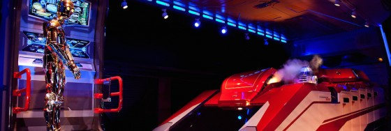 Inside of Star Tours attraction with C3PO