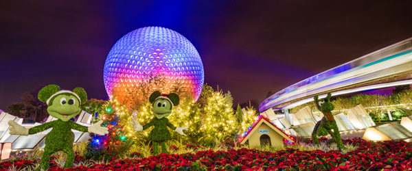 Christmas decor in front of epcot