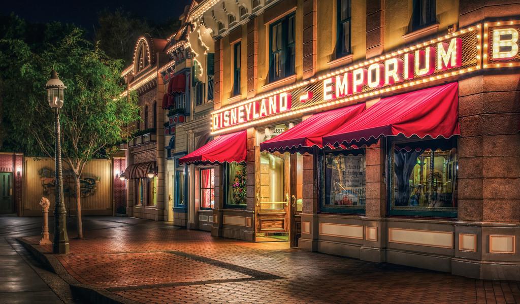 Disneyland main street at night