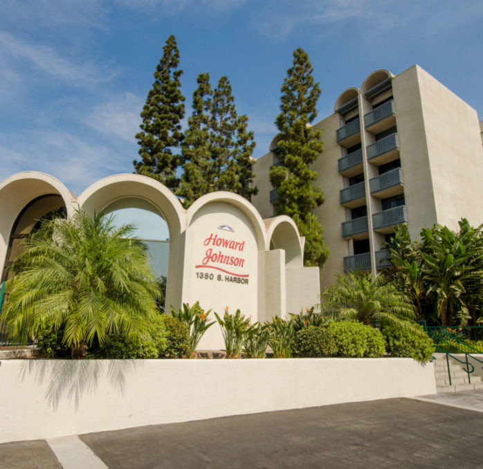The exterior lobby of the hotel