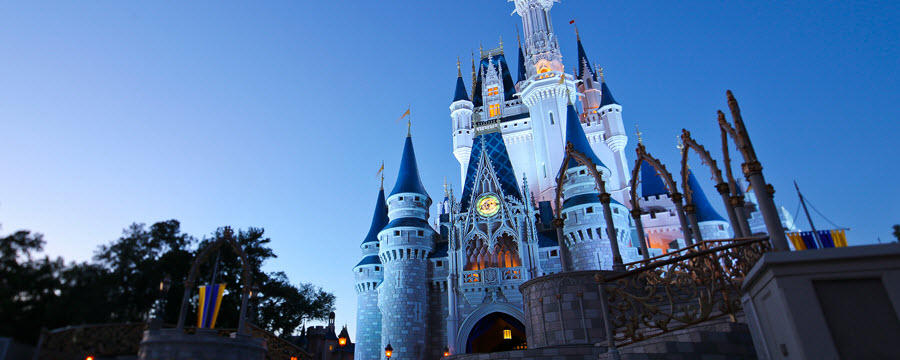 Cinderella's castle at night at Magic Kingdom