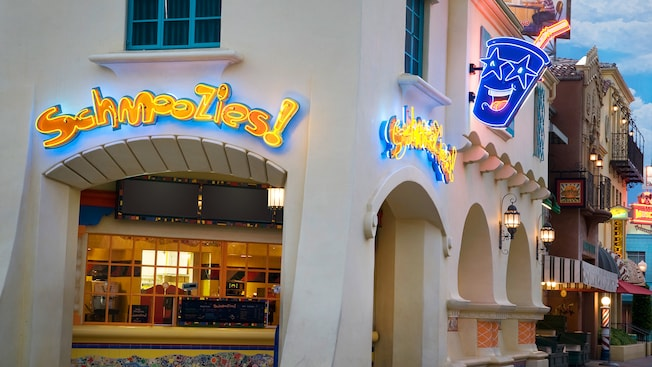 Outside of Schmoozies at evening