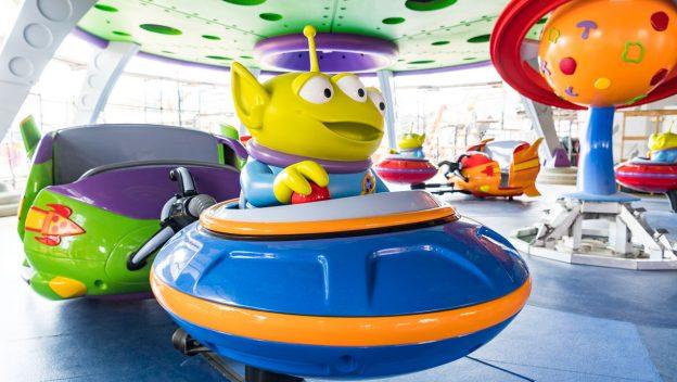 Alien sitting in swirling saucer