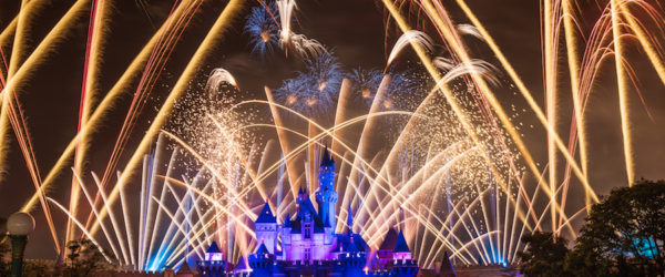 Fireworks in front of Sleeping Beauty's Castle