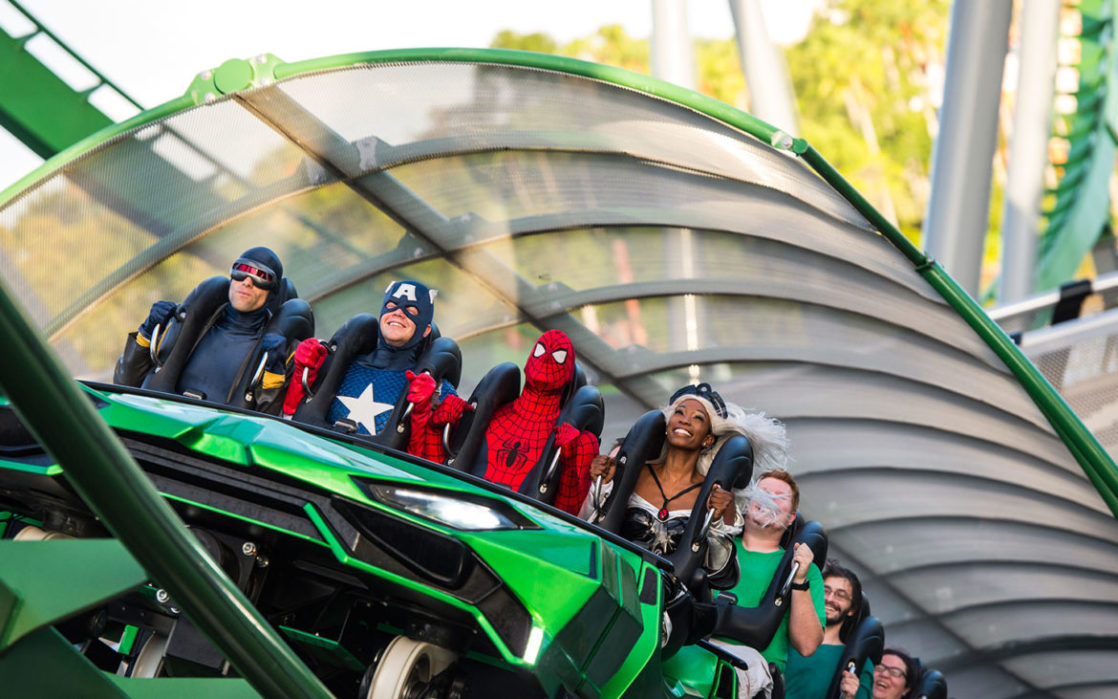 Marvel characters on the Hulk coaster
