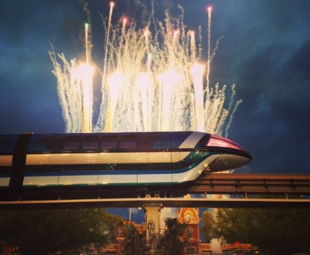 Fireworks in front of the monorail
