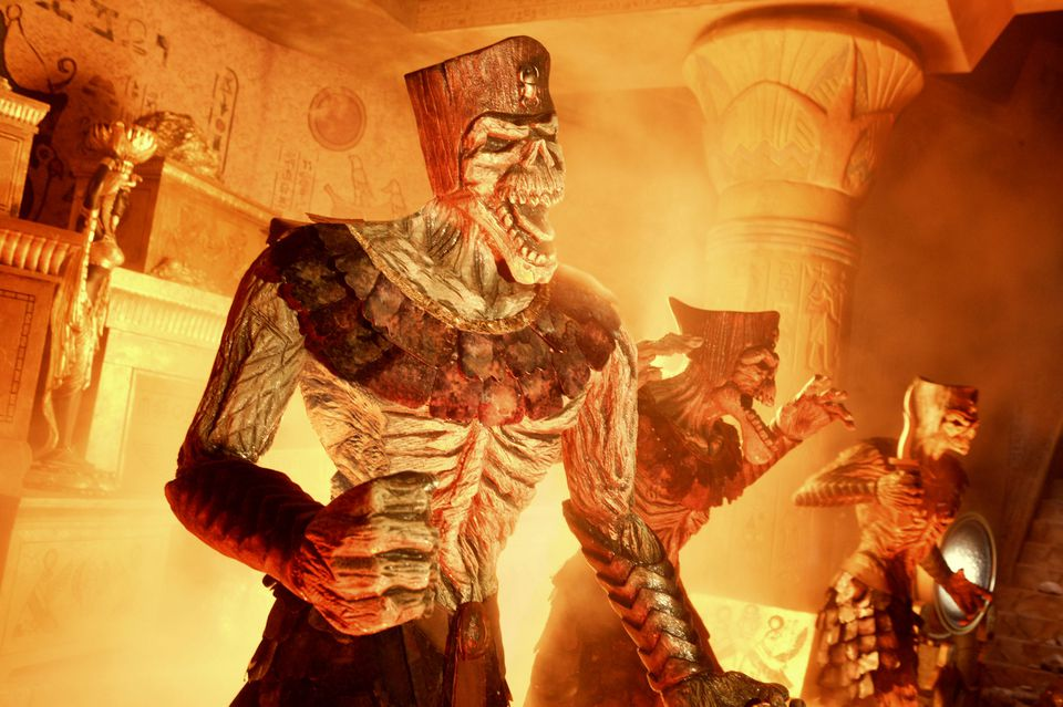 Mummies surrounded by fire