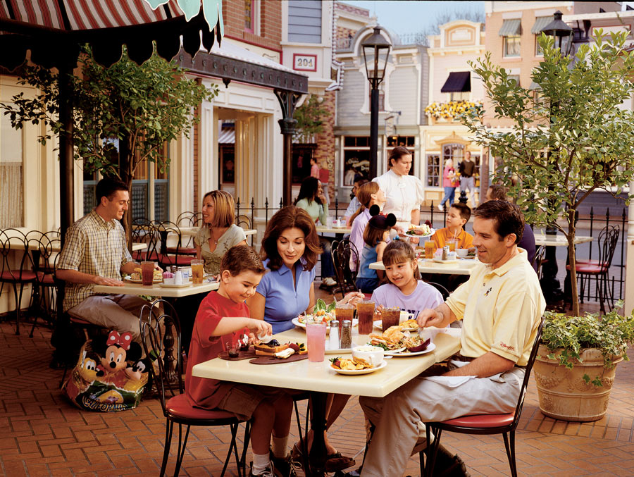 Family eating outside at Carnation Cafe