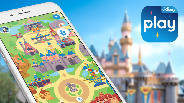 Mobile screen with Disney Parks Play App