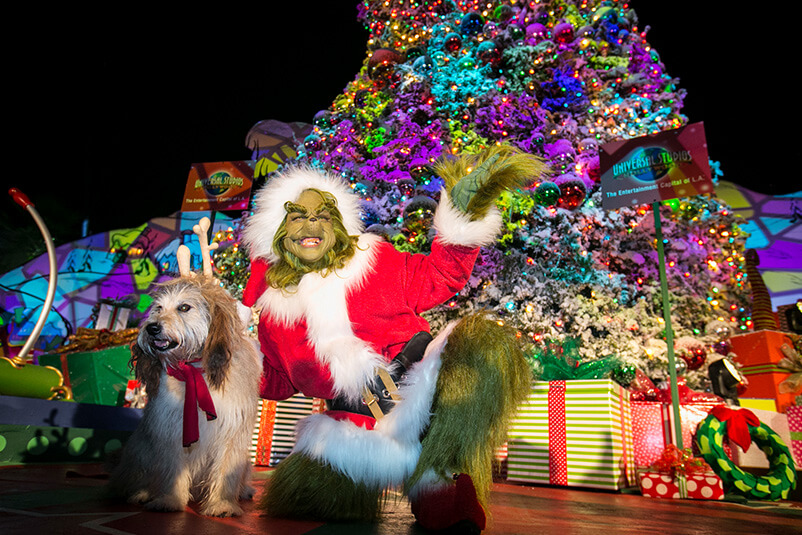 The Grinch and Max in front of the Christmas tree