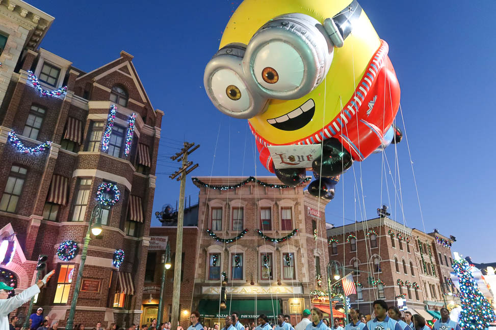 Minion float during the holiday parade