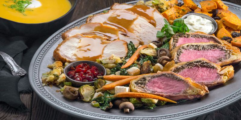 Close up of holiday feast food at Universal Studios Hollywood