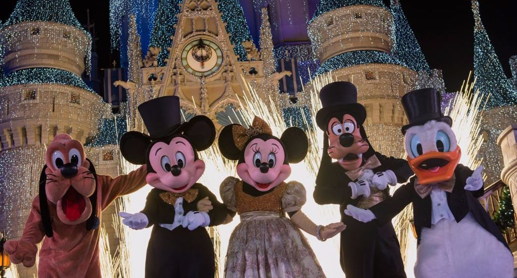 Walt Disney World characters dressed up for New Year's Eve