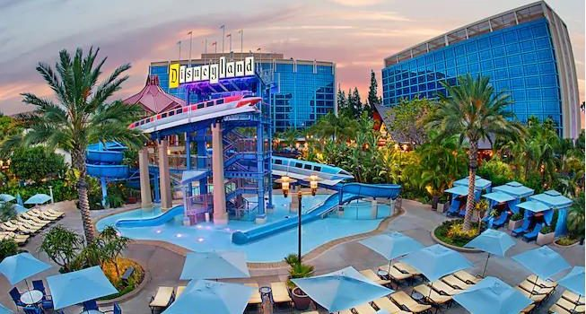 View of the Disneyland Hotel at dusk