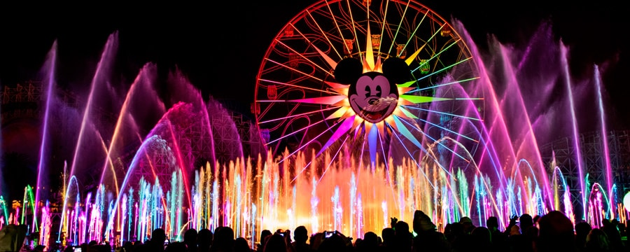 World of Color lit up at night