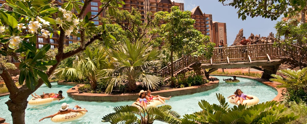 Disney Aulani pool area with lush greenery