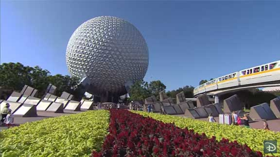 Epcot center with flowers