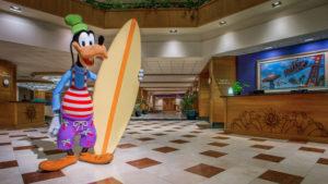 Goofy statue inside hotel lobby