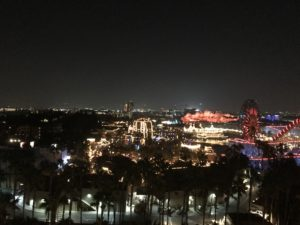 Outside view of California Adventure park at night