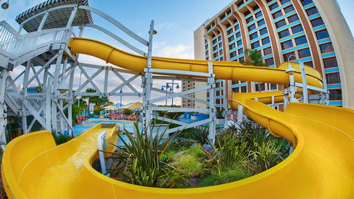 Yellow waterslide at the hotel