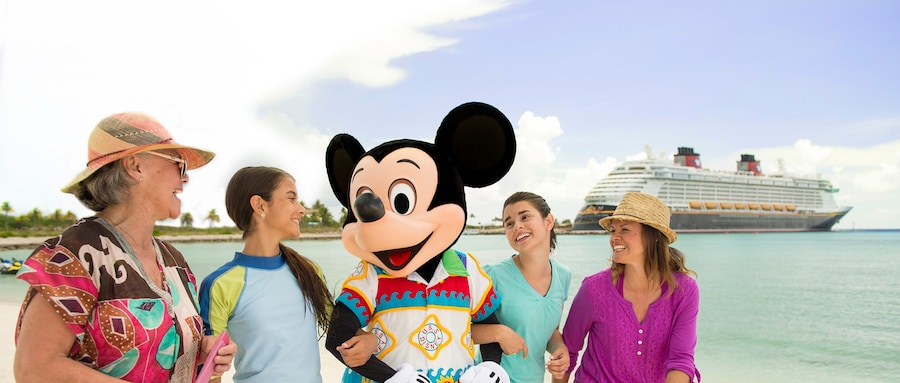 Mickey surrounded by family on the ocean