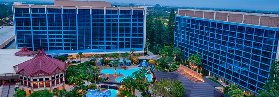 Disneyland Hotel aerial view- Ice Cream in Disneyland list
