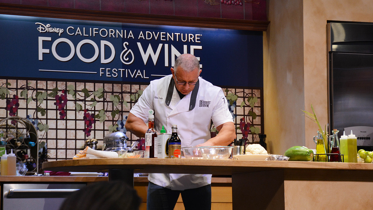 Chef doing a demo at the food and wine festival