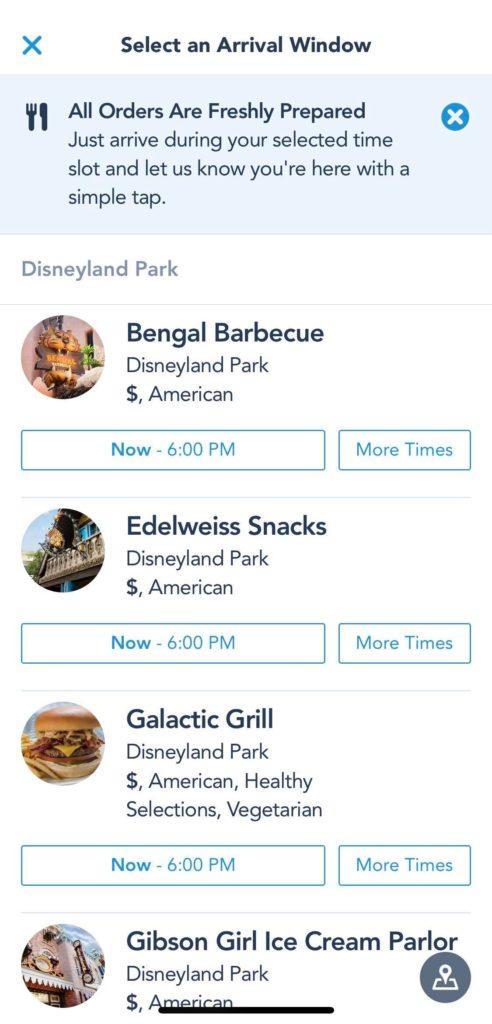 Restaurant list on disneyland app