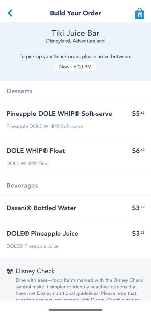 Screenshot of food selection on mobile app