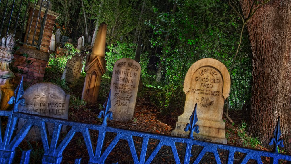 Gravestones in the Haunted Mansion graveyard