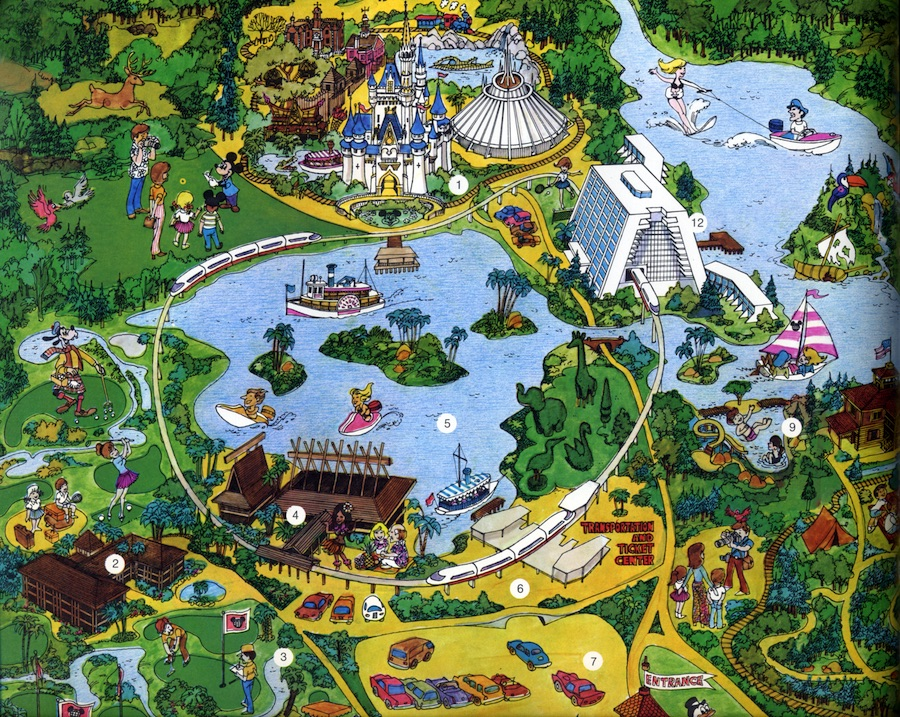 Walt Disney World cartoon map