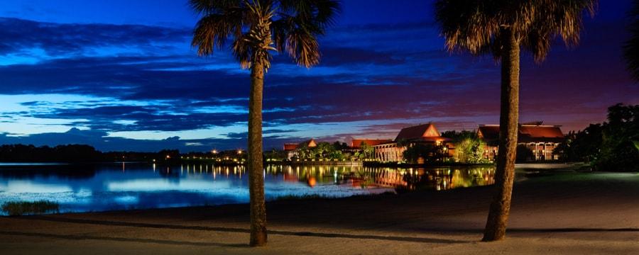 polynesian-resort at dusk