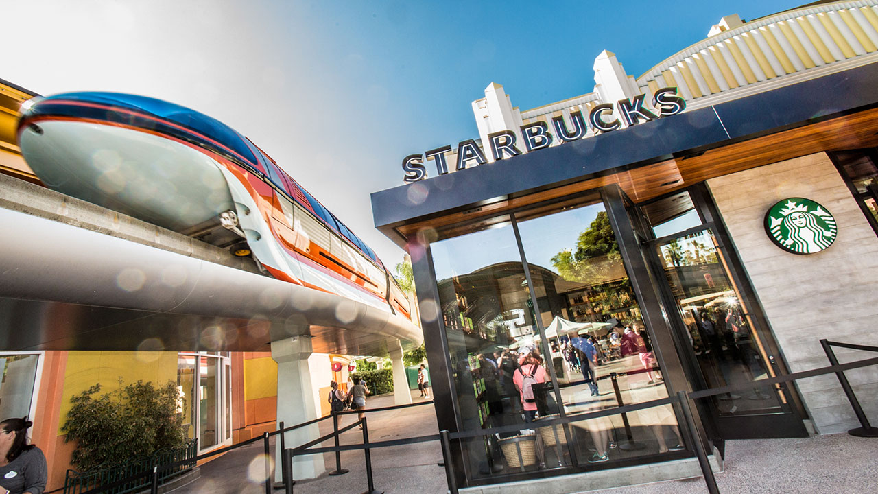 Starbucks Location with monorail next to it