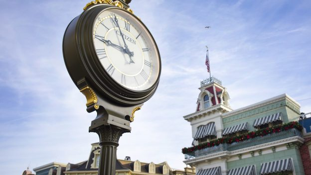 Close up of a clock inside California Adventure