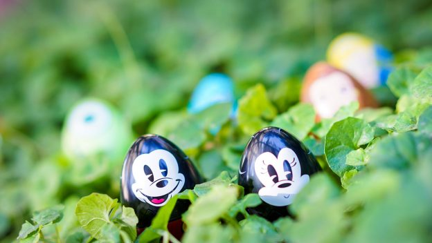 Two mickey mouse eggs in grass