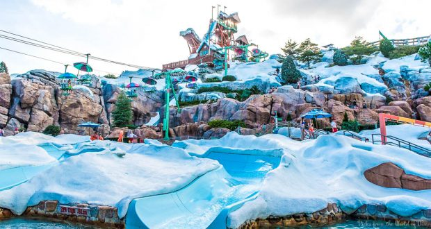 Blizzard Beach view of the snow slopes